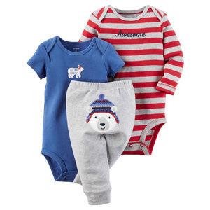 Baby Boy 3-Piece Polar Bear Bodysuit Pant Set